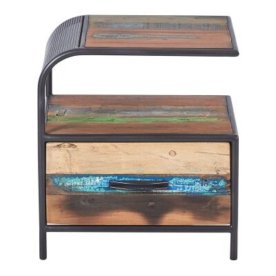 Aru Commercial Grade Industrial Recycled Timber & Iron Bedside Table, Left