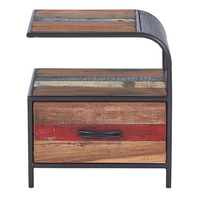 Aru Commercial Grade Industrial Recycled Timber & Iron Bedside Table, Right