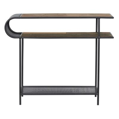 Aru Commercial Grade Industrial Recycled Timber & Iron Console Table, 110cm