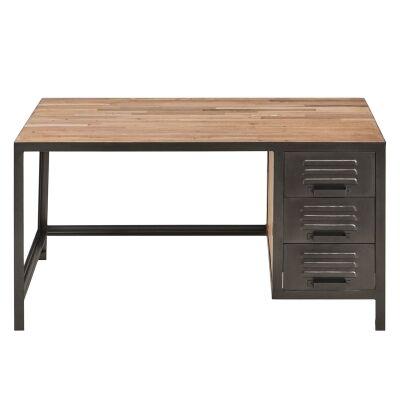 Locker Reclaimed Timber & Steel Industrial Desk, 140cm