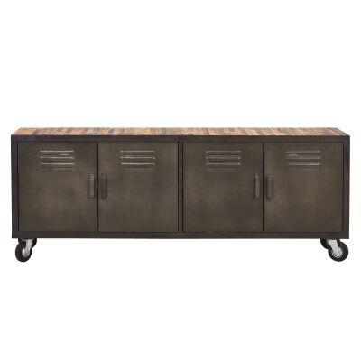Locker Reclaimed Timber & Steel Industrial 4 Door High TV Stand, 200cm