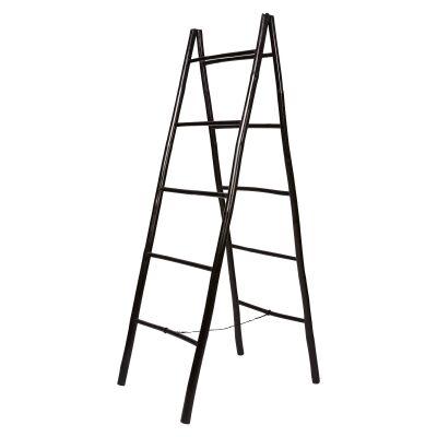 Allison Bamboo Foldable A-shape Ladder Rack, Black