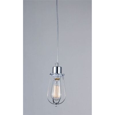 Antique Cone Shape Cage Pendant Light with Edison Style Light Bulb in Chrome