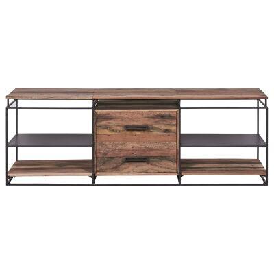 Nako Commercial Grade Reclaimed Timber & Iron 2 Drawer TV Unit, 160cm