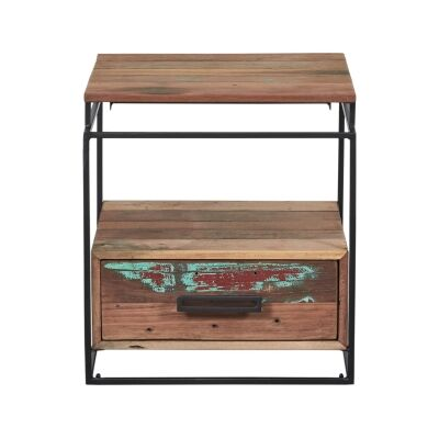 Nako Commercial Grade Reclaimed Timber & Iron Single Drawer Bedside Table