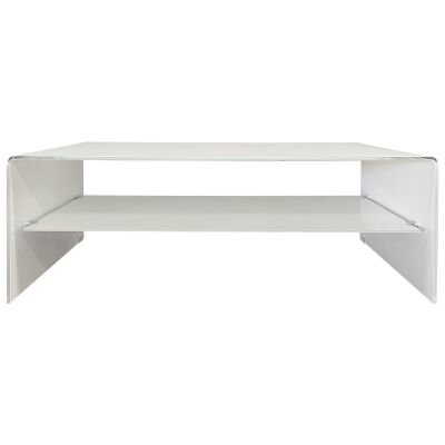 Glacier Glass Coffee Table, 120cm, White