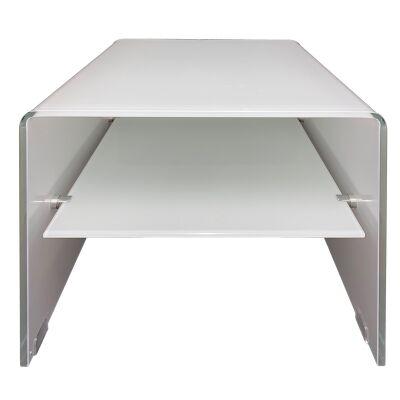 Glacier Glass Lamp Table, White