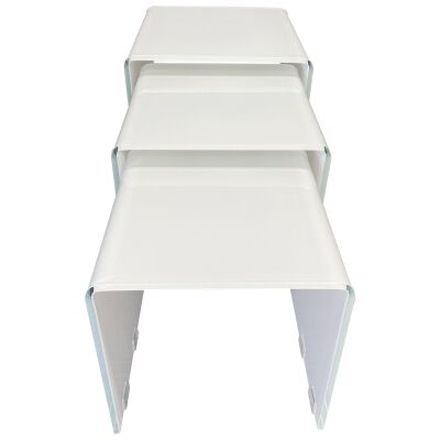 Glacier 3 Piece Glass Nesting Table Set, White