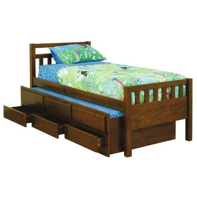 Kruz Wooden Captain Bed with Trundle & Storage Drawers, Single, Walnut