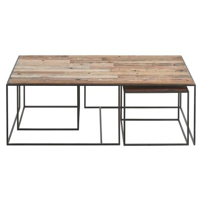 Sublime 3 Piece Commercial Grade Recycled Timber & Iron Coffee Table Set, 130cm