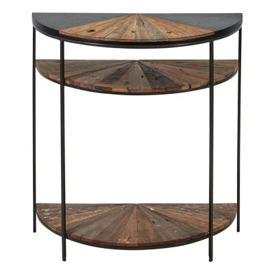 Sublime Commercial Grade Recycled Timber & Iron Semi Round Console Table, 80cm