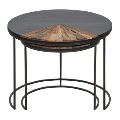 Sublime 2 Piece Commercial Grade Recycled Timber & Iron Nested Coffee Table Set, 65cm