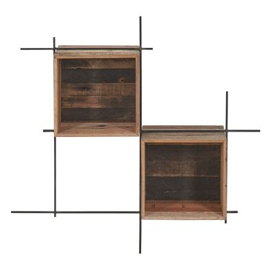 Sublime Commercial Grade Recycled Timber & Iron Wall Shelf, Small