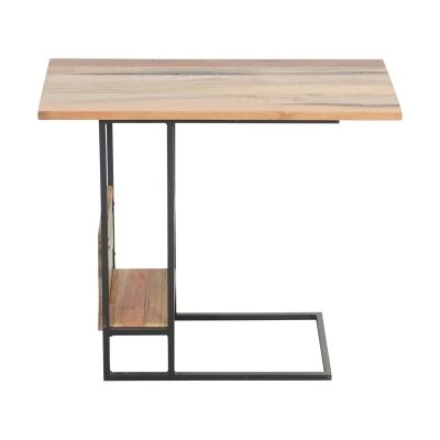 Sublime Commercial Grade Recycled Timber & Steel Side Table with Magazine Rack
