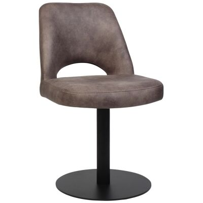 Albury Commercial Grade Eastwood Fabric Dining Stool, Metal Disc Base, Dove Grey / Black