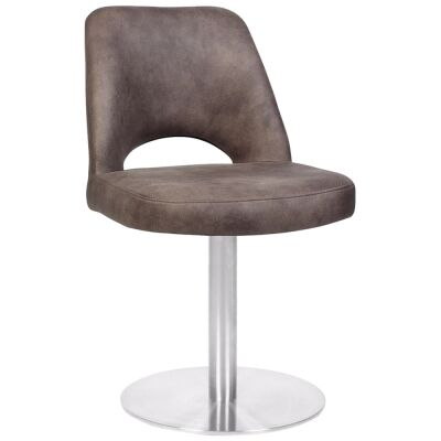 Albury Commercial Grade Eastwood Fabric Dining Stool, Metal Disc Base, Dove Grey / Silver