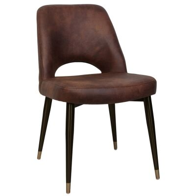 Albury Commercial Grade Eastwood Fabric Dining Chair, Slim Metal Leg, Bison / Black Brass