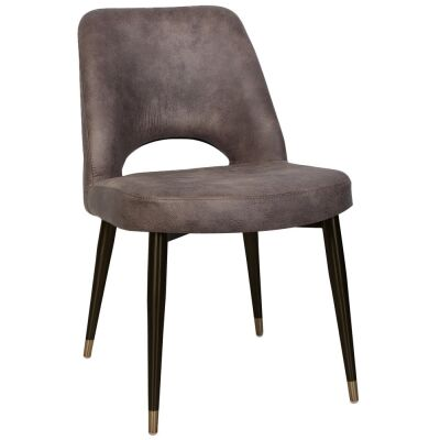 Albury Commercial Grade Eastwood Fabric Dining Chair, Slim Metal Leg, Donkey / Black Brass