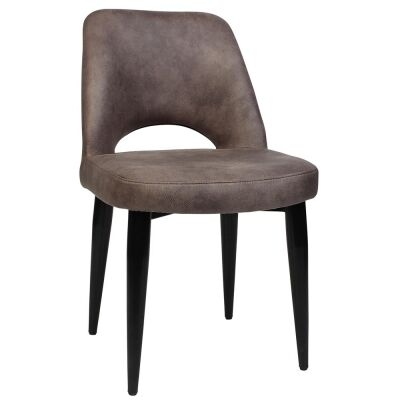 Albury Commercial Grade Eastwood Fabric Dining Chair, Metal Leg, Donkey / Black
