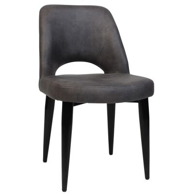 Albury Commercial Grade Eastwood Fabric Dining Chair, Metal Leg, Slate / Black
