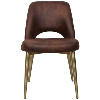 Albury Commercial Grade Eastwood Fabric Dining Chair, Slim Metal Leg, Bison / Brass
