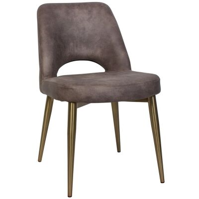 Albury Commercial Grade Eastwood Fabric Dining Chair, Slim Metal Leg, Donkey / Brass
