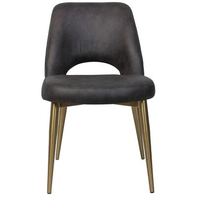 Albury Commercial Grade Eastwood Fabric Dining Chair, Slim Metal Leg, Slate / Brass