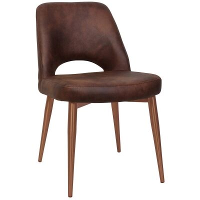 Albury Commercial Grade Eastwood Fabric Dining Chair, Slim Metal Leg, Bison / Copper