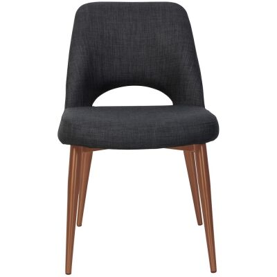 Albury Commercial Grade Fabric Dining Chair, Slim Metal Leg, Charcoal / Copper