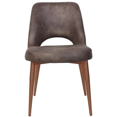 Albury Commercial Grade Eastwood Fabric Dining Chair, Slim Metal Leg, Donkey / Copper