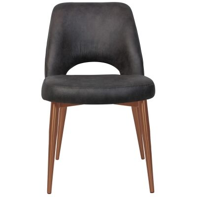 Albury Commercial Grade Eastwood Fabric Dining Chair, Slim Metal Leg, Slate / Copper