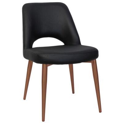 Albury Commercial Grade Vinyl Dining Chair, Slim Metal Leg, Black / Copper