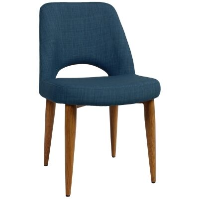 Albury Commercial Grade Fabric Dining Chair, Metal Leg, Blue / Light Oak