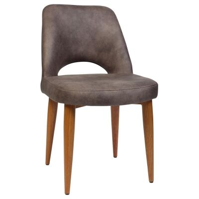 Albury Commercial Grade Eastwood Fabric Dining Chair, Metal Leg, Donkey / Light Oak
