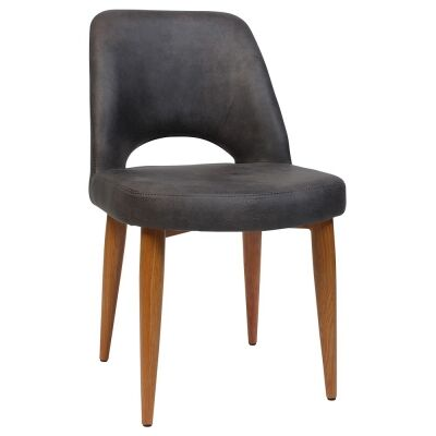 Albury Commercial Grade Eastwood Fabric Dining Chair, Metal Leg, Slate / Light Oak