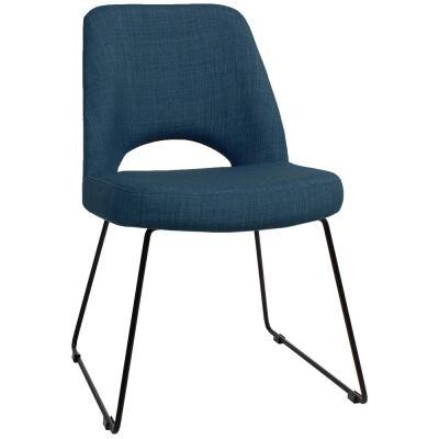 Albury Commercial Grade Fabric Dining Chair, Metal Sled Leg, Blue / Black