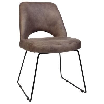 Albury Commercial Grade Fabric Dining Chair, Metal Sled Leg, Donkey / Black