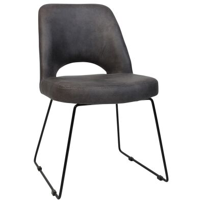 Albury Commercial Grade Eastwood Fabric Dining Chair, Metal Sled Leg, Slate / Black