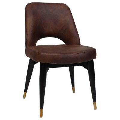 Albury Commercial Grade Fabric Dining Chair, Timber Leg, Bison / Black Brass