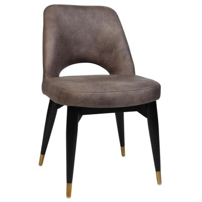 Albury Commercial Grade Fabric Dining Chair, Timber Leg, Donkey / Black Brass