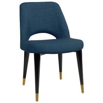 Albury Commercial Grade Fabric Dining Chair, Timber Leg, Blue / Black Brass