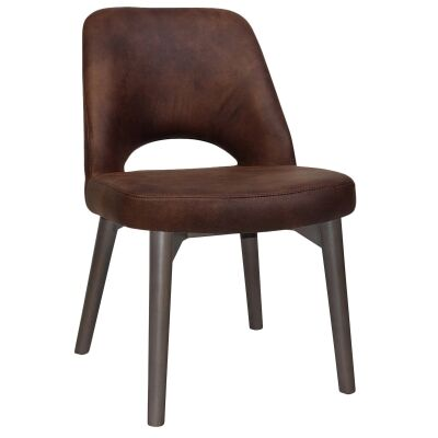 Albury Commercial Grade Fabric Dining Chair, Timber Leg, Bison / Olive Grey