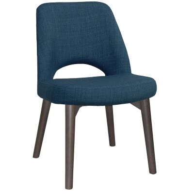 Albury Commercial Grade Fabric Dining Chair, Timber Leg, Blue / Olive Grey
