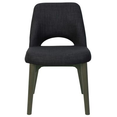 Albury Commercial Grade Fabric Dining Chair, Timber Leg, Charcoal / Olive Grey