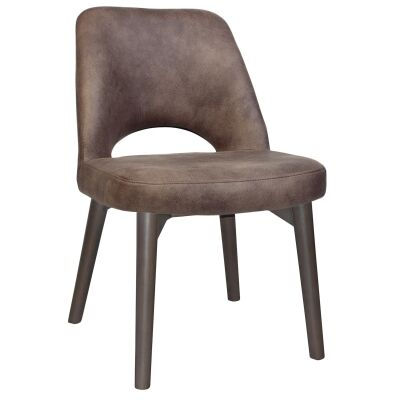 Albury Commercial Grade Fabric Dining Chair, Timber Leg, Donkey / Olive Grey