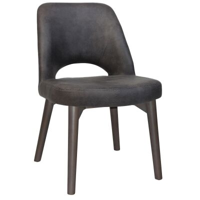 Albury Commercial Grade Fabric Dining Chair, Timber Leg, Slate / Olive Grey