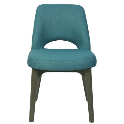 Albury Commercial Grade Fabric Dining Chair, Timber Leg, Teal / Olive Grey