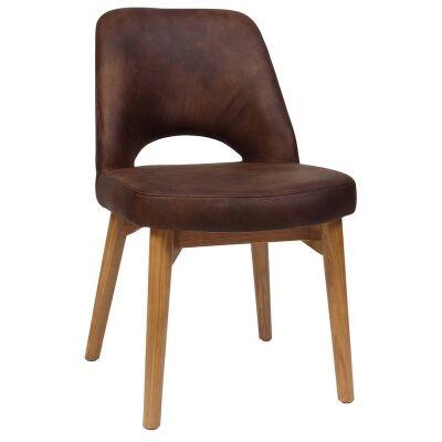 Albury Commercial Grade Fabric Dining Chair, Timber Leg, Bison / Light Oak