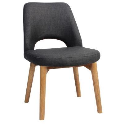 Albury Commercial Grade Fabric Dining Chair, Timber Leg, Charcoal / Light Oak