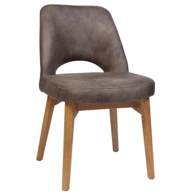 Albury Commercial Grade Fabric Dining Chair, Timber Leg, Donkey / Light Oak